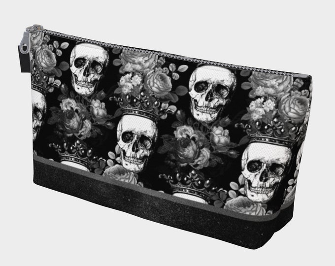 Gothic skulls black and white makeup bag