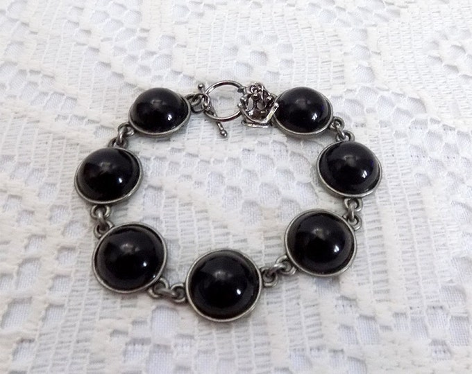 handmade black and silver bracelet