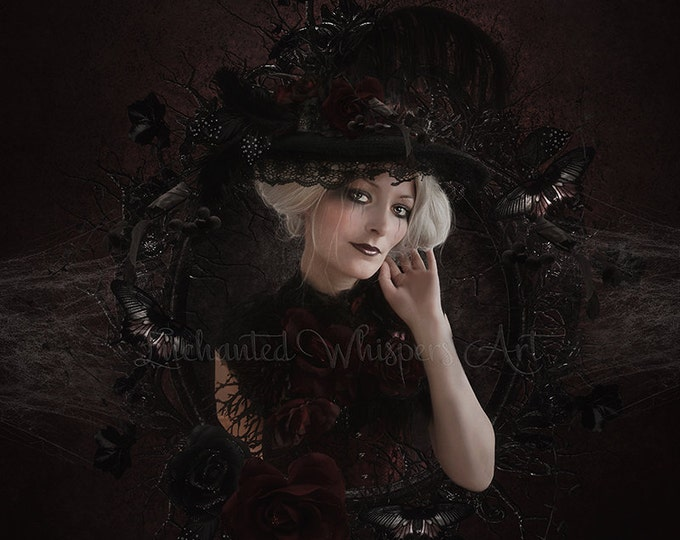 Gothic Victorian woman portrait print art by Enchanted Whispers