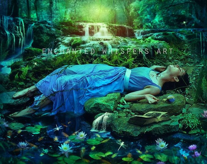 Mystical woman in forest setting fantasy art print