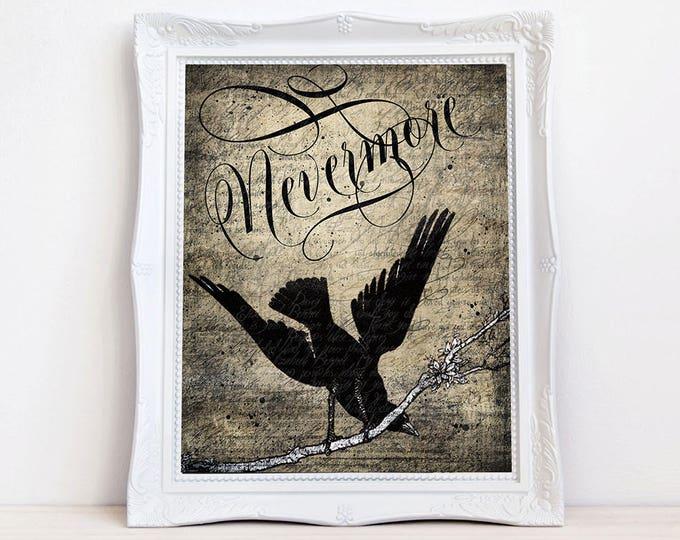 Nevermore Quoth Raven art print, Vintage crow raven, Edgar Allen Poe