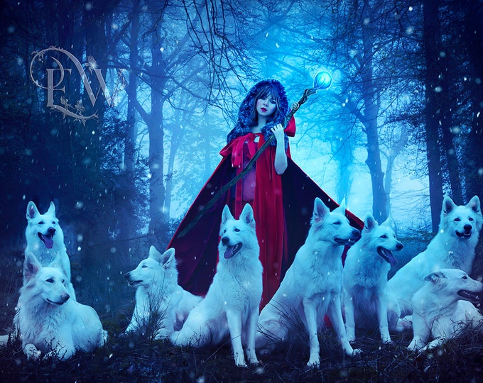 Fairytale art Red Ridinghood in the forest with wolf pack art print