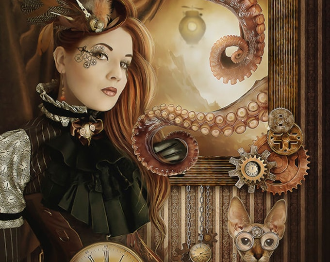 Steampunk fantasy woman portrait art print