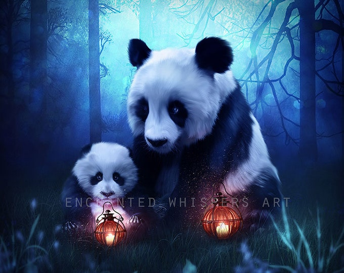 Cute fantasy panda bears Mom and baby in forest art print