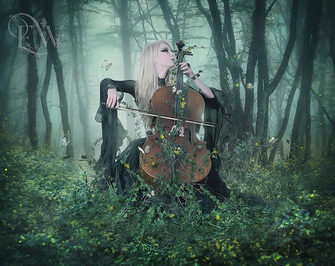 fantasy woman cello player in forest art print