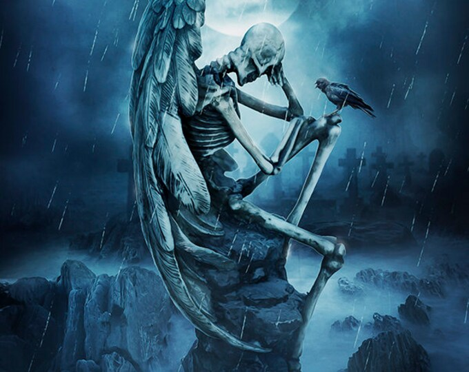 Gothic wall art, Gothic poster, Gothic print, dark angel print, Skeleton print, winged skeleton