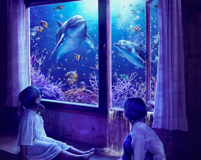 Ocean art print, dolphin wall art, surreal fantasy poster, childrens nautical print