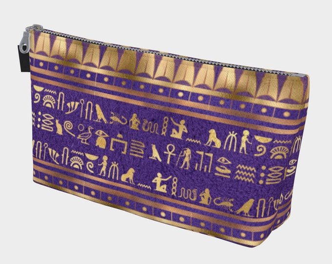 purple and gold color Egyptian hieroglyphs print makeup bag