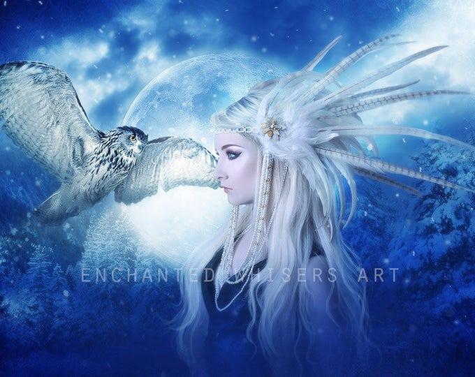 fantasy woman portrait blue with owl wall art print