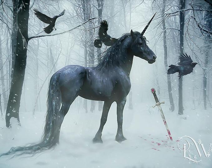 Black Gothic Unicorn with crows Equine art print