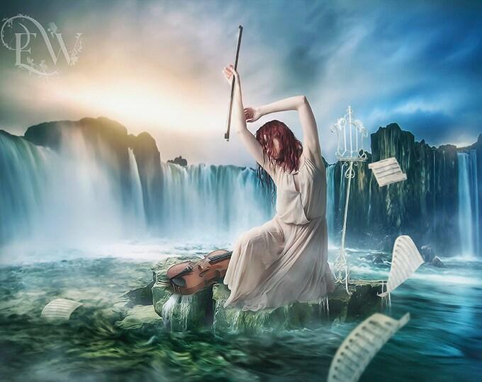 Surreal fantasy violinist in the ocean art print, music lover gift, violin art print