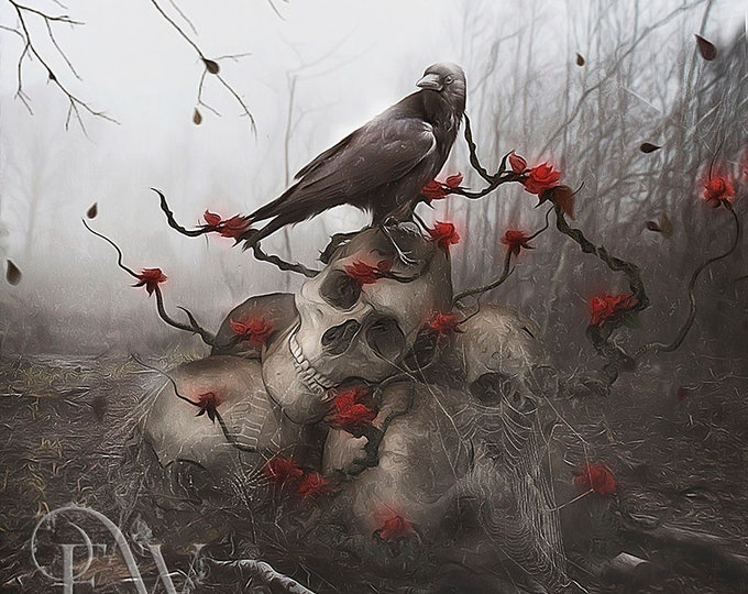 Gothic crow and skull art print
