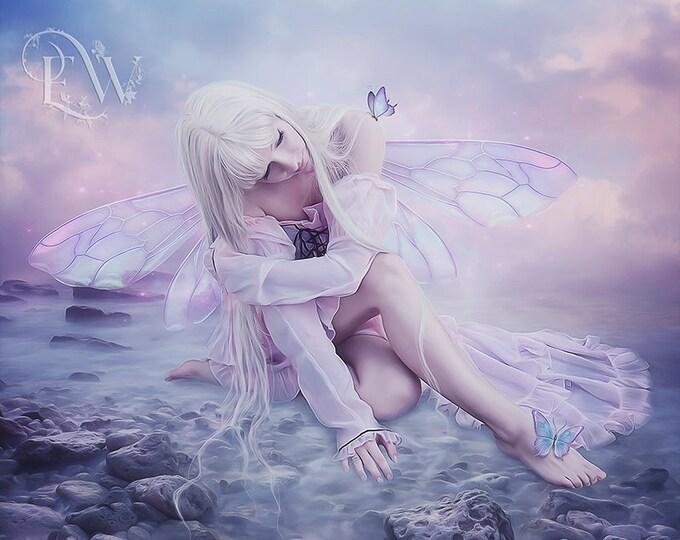Beautiful pink fantasy Fairy art print