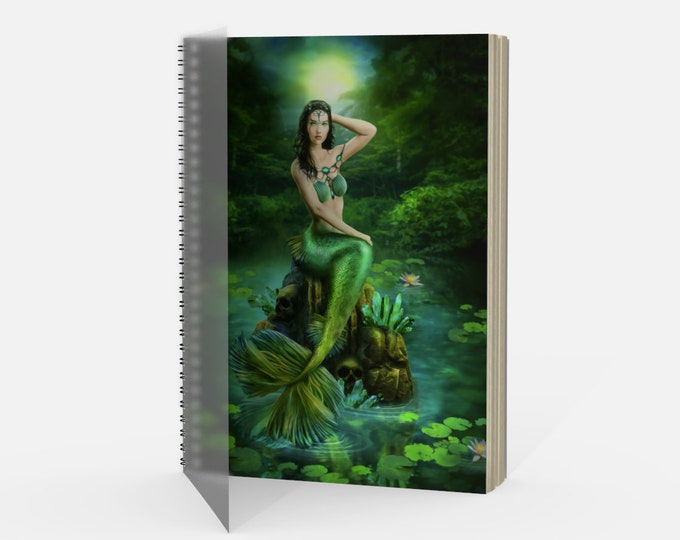 mermaid fantasy journal or notebook with spiral spine