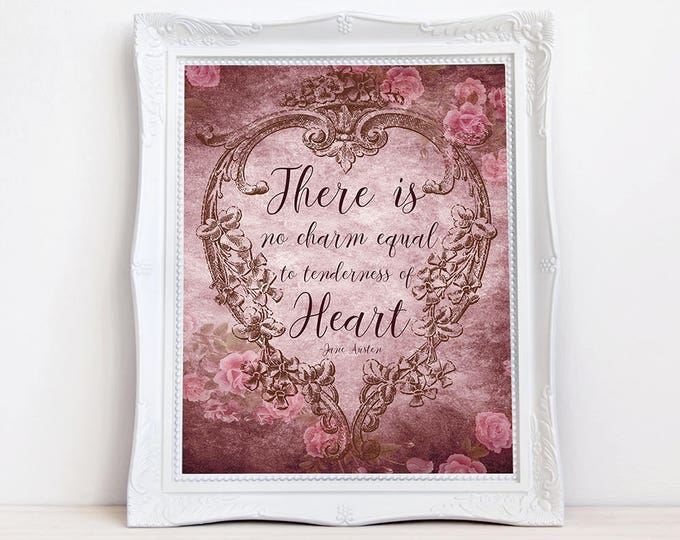 Vintage style Jane Austen typograpgy quote wall art