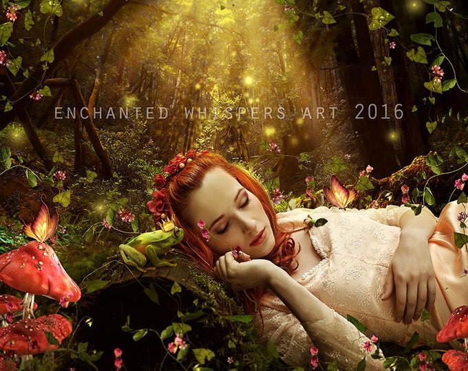 fantasy fairytale woman in enchanted forest art print