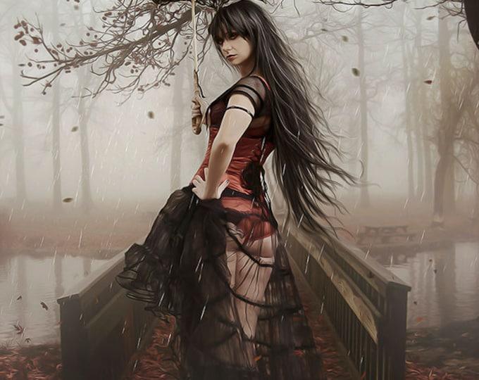 Gothic fantasy Victorian woman in rain art print