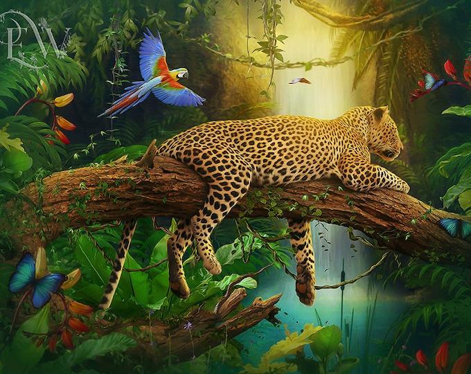 leopard art print jungle cat wall art