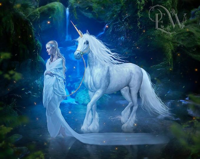 White Unicorn and elf woman fantasy art print