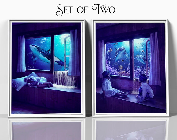 Set of two fantasy art prints, children's bedroom wall decor, ocean wall art, dolphin print, whale art