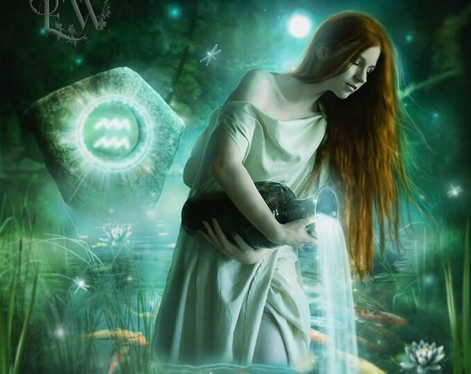 Aquarius fantasy art print by Enchanted Whispers Art