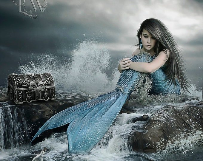 fantasy mermaid with blue tail sits on ocean rocks art print