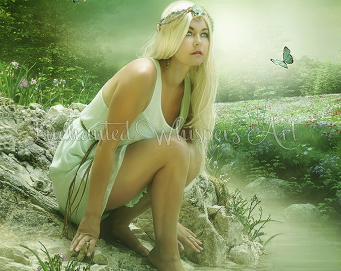 beautiful blonde elf farie fantasy art print by Enchanted Whispers