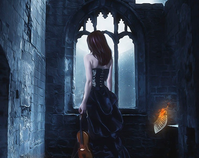 Goth woman with violin art print