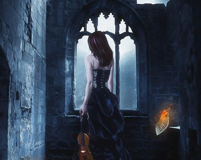 Goth woman with violin art print