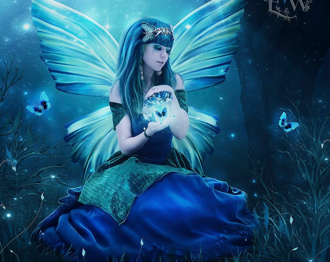 blue fantasy fairy art print by Enchanted Whispers