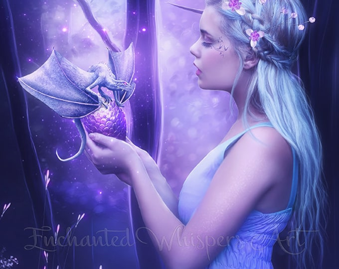woman with dragon egg purple fantasy portrait