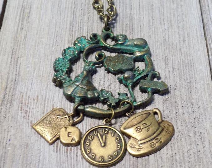 Alice in Wonderland vintage bronze handmade necklace