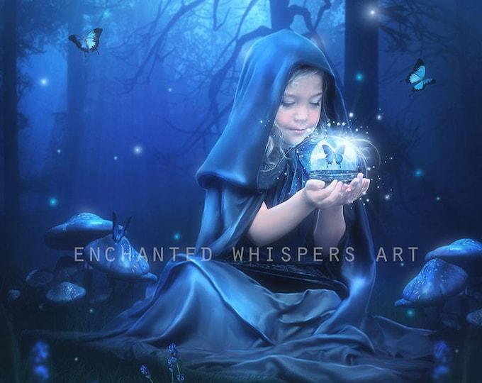 fantasy Little girl Witch child doing magic art print