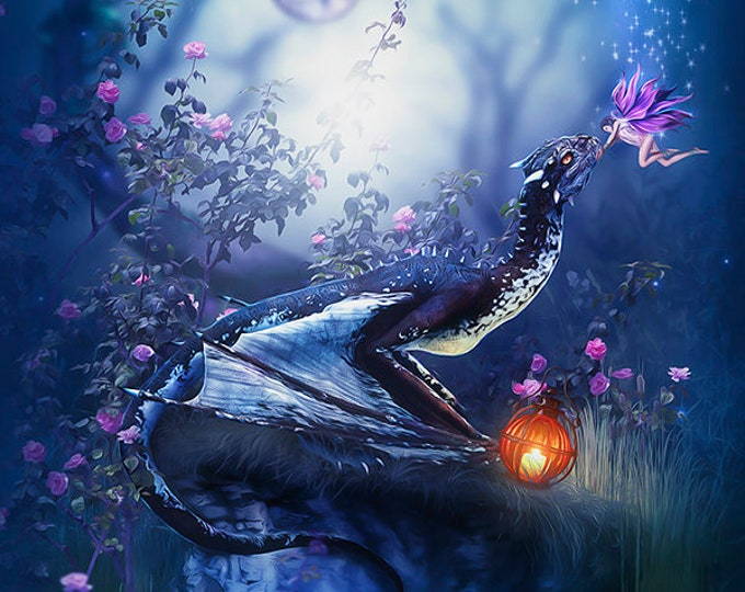 little fairy and dragon art print by Enchanted Whispers
