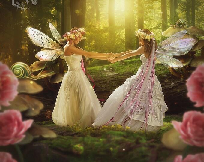 fantasy fairie friends in forest art print