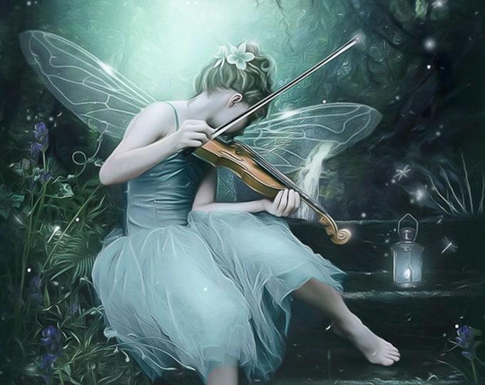fantasy fae playing violin art print