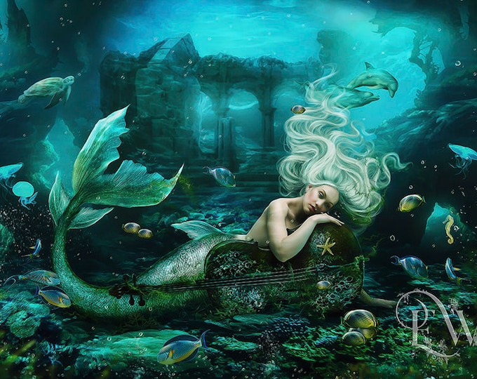 beautiful blonde mermaid under water with cello art print