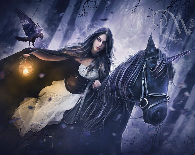 Gothic woman riding black Unicorn fantasy art print