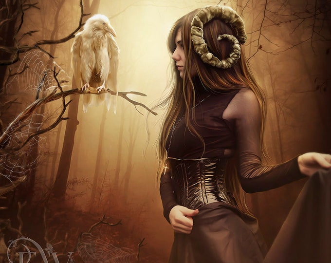 Gothic Woman with white raven art print