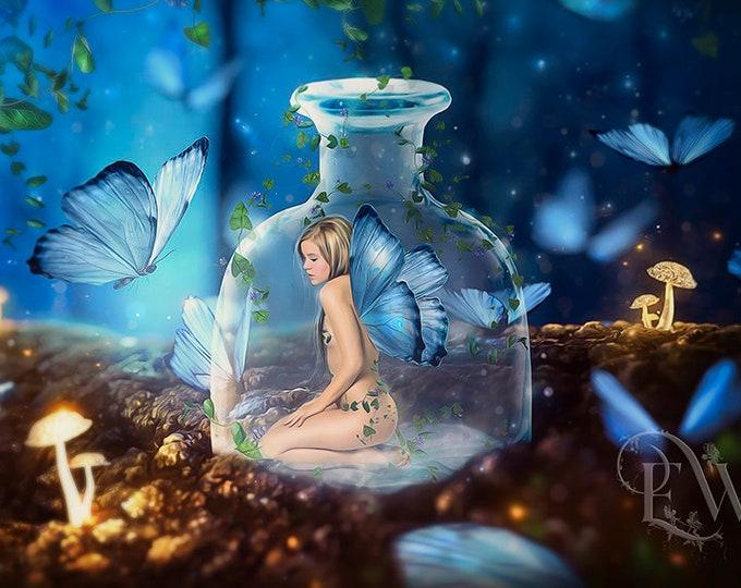 fairy in a bottle with blue butterflies art print