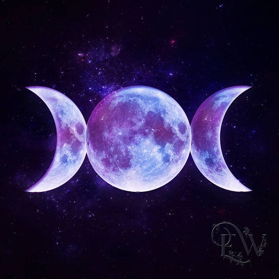 triple moon Goddess Pagan art print