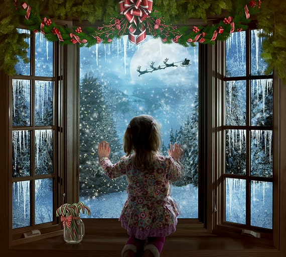 digital Christmas window background for Photoshop compositing