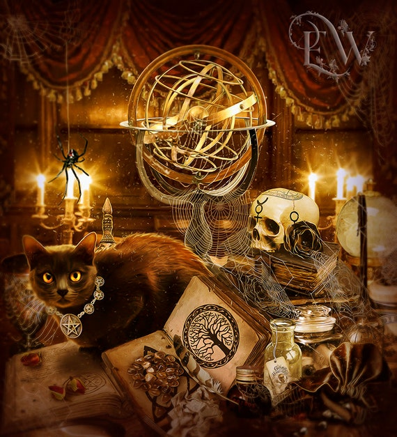 Pagan black cat Wiccan art print by Enchanted Whispers