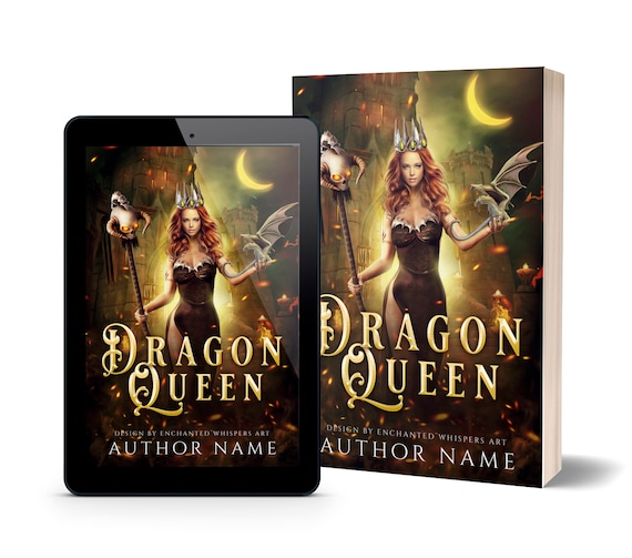 fantasy woman with dragon premade book cover art