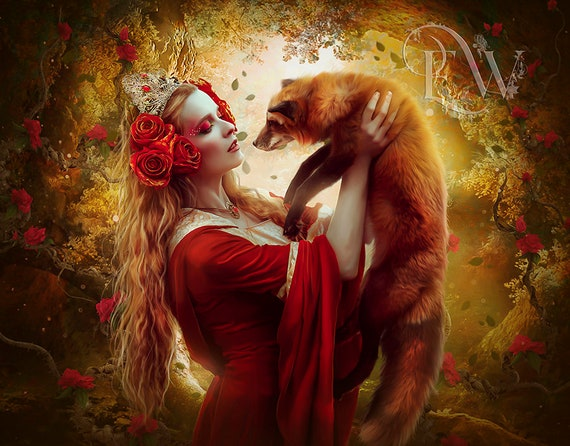 beautiful fantasy woman with red fox art print, fox wall decor, fantasy poster, red and brown