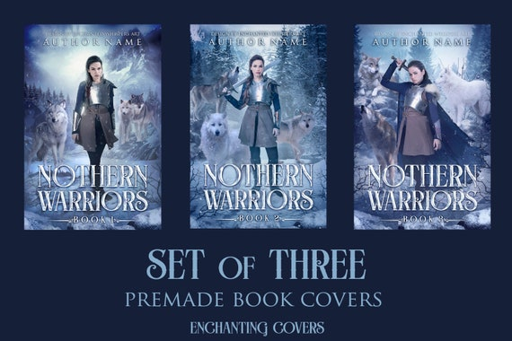 Premade set of three high fantasy book covers series with Winter Warrior woman and wolves
