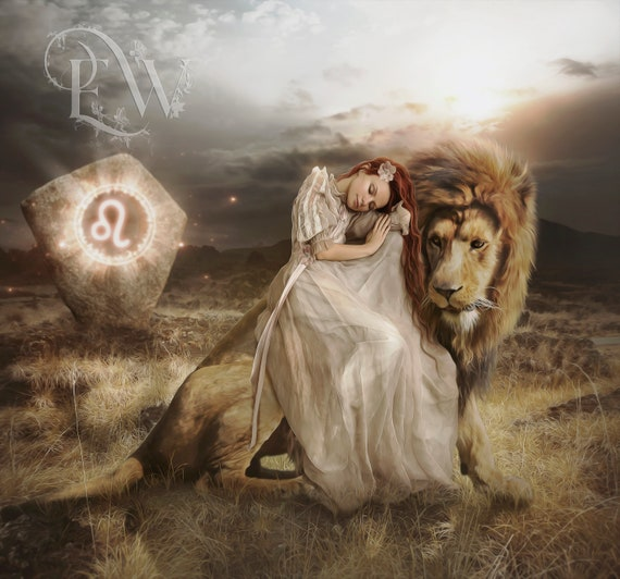 Leo lion and woman fantasy Zodiac art print