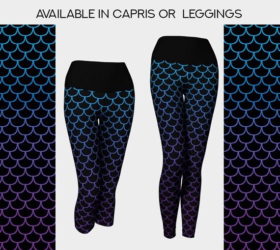 mermaid scales print black yoga leggings or capris