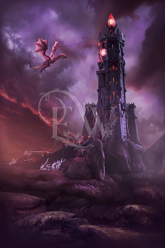 High fantasy castle with dragon 3d background for photo compositing and  photo manipulation