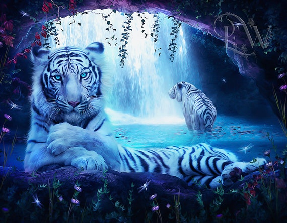 white tigers fantasy art print by Enchanted Whispers